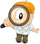 93644-Royalty-Free-RF-Clipart-Illustration-Of-A-Little-Boy-Peering-Up-Through-A-Magnifying-Glass